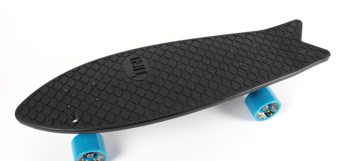 Top view of a skateboard showing the fish shape.